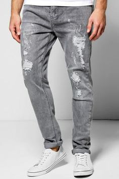Skinny Fit Grey Jean With Rip And Repair at boohoo.com