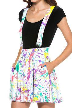 Splatter Pinafore Pocket Skater Skirt - LIMITED - Black Milk Clothing
