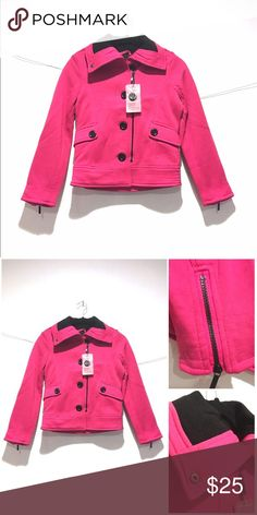 Yoki Pink Jacket/Coat 🐈Length to hips  🐈Thick turnover collar 🐈Double Breasted with Zipper covering second set of buttons  🐈Zipper Accent on Sleeve  🐈Polyester 🐈NWT Yoki Jackets & Coats