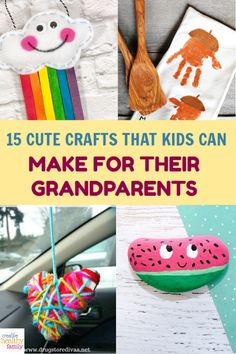 With Grandparents' Day  coming up, I'm sharing some super cute crafts for kids that make perfect handmade gifts for the special day! They're also perfect for other upcoming holidays, of course. Take a look! #DIY #crafts #kids #grandparents