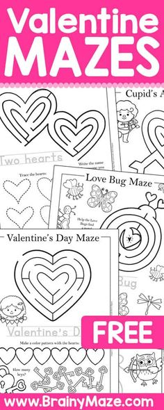 Preschool and Kindergarten Printables. Free printable mazes and activity worksheets for Valentines Day! This set of mazes is just right for Tots, Preschool and Kindergarten aged students. Valentine's Day Crafts For Kids, Valentine Crafts For Kids, Valentines Day Activities, Holiday Activities, Kinder Valentines, Valentine Theme, Printable Valentine, Printable Mazes, Valentine's Day Printables