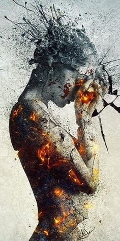 I like how the picture is gray on the outside of her body, but the cracks show yellow and red, which maybe show how much power is on the inside but none shown on the outside http://www.huffingtonpost.com/2014/04/03/being-stressed-out_n_5071642.html