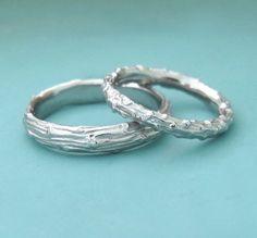 Twig Wedding Rings - Palladium 950 - Pine Branch - Set of Two