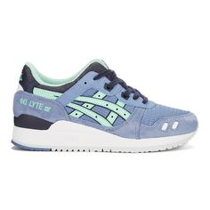 Asics Women's Gel-Lyte III Trainers - Stone Wash/Light Mint ($135) ❤ liked on Polyvore featuring shoes, sneakers, blue, lace up sneakers, mint sneakers, leather sneakers, blue flat shoes and retro shoes