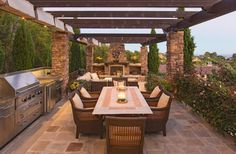 Outdoor, Outdoor Dining Area Plus Summer Kitchen That Placed At Wonderful Pergola Looks So Pleasant Place That Decorated With Various Ornamental Plants: Choosing Appropriate Outdoor Kitchen Concepts Backyard Patio Designs, Pergola Patio, Pergola Kits, Pergola Ideas, Ideas For Backyard Patio, Garden Ideas, Pool Porch, Patio Grill, Patio Privacy
