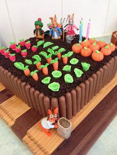 Image result for peter rabbit birthday cake chocolate finger garden vegetables
