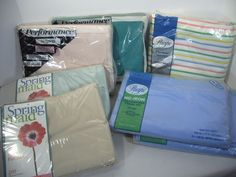 twin sheets lot of 7 sealed in package vintage 1 double fitted solid stripes