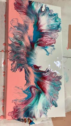 Acrylic Pouring Art, Acrylic Art, Diy Art, Diy Canvas Art, Cool Paintings, Painting Techniques, Pink Abstract, Pour Painting, Summer Colors