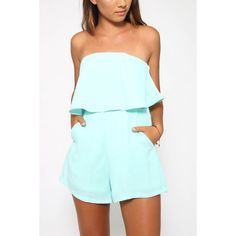 Yoins Off The Shoulder Playsuit with Layered Details in Light-blue ($19) ❤ liked on Polyvore featuring jumpsuits, rompers, black, off shoulder romper, playsuit romper, light blue romper, boho romper and off the shoulder romper