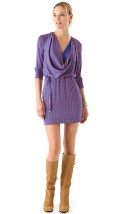 Diane von Furstenberg Rachel Print Dress....and these boots bring it over the top! <3 love!