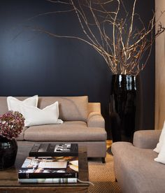 Sand colored sofas, shadow blue wall and decorations in white and light purple.