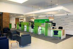 Retail Banking Branch Design Showcase – Over Photos - Modern Office Reception Design, Work Office Design, Dental Office Design, Modern Office Design, Healthcare Design, Modern Offices, Reception Desks, Bank Interior Design, Interior Design Portfolios