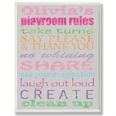 @rosenberryrooms is offering $20 OFF your purchase! Share the news and save!  Girl's Gray Personalized Typography Playroom Rules Wall Plaque #rosenberryrooms