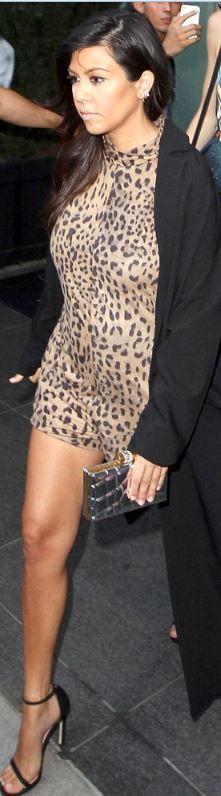 kourtney kardashian  Who made  Kourtney Kardashians leopard brown romper and black ankle strap sandals that she wore in New York?