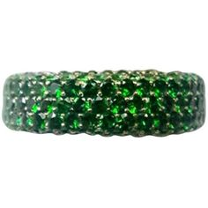 Preowned Tsavorite Garnet Pave Band Ring In Yellow Gold ($7,000) ❤ liked on Polyvore featuring jewelry, rings, band rings, yellow, cocktail rings, anniversary rings, yellow gold wedding rings, gold ring and 18k gold ring