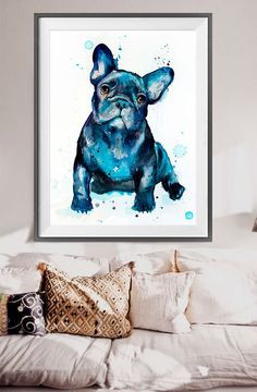 French Bulldog watercolor painting print French by SlaviART
