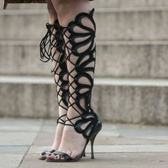 Black Calf Lace Up Heels