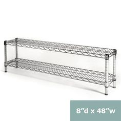 """8""""d Chrome Wire Shelving Unit with 2 Shelves"""