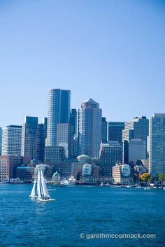 Downtown Boston from the harbour, Massachusetts, USA. Stock Photo