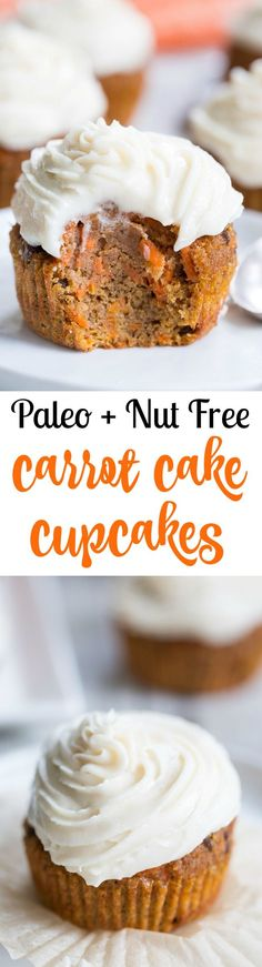 """These dreamy carrot cake cupcakes are made with coconut and tapioca flour and sweetened with maple syrup, making them both paleo and nut free.  They're topped with a sweet creamy paleo vanilla """"buttercream"""" that tastes just like real thing!  This paleo dessert is sure to become a favorite for Spring!"""