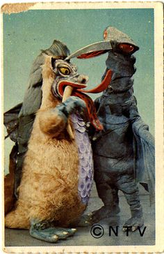 What's your monster; Is he fearful or a friend? Bring him to life! (Berobero and Garigari from Machaaki Maetake Hajimaru Yo! NTV, 1971)