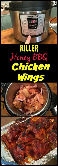 Instant Pot Recipes: Honey BBQ Wings made in an Electric Pressure Cooker Serve u. - Instant Pot Recipes: Honey BBQ Wings made in an Electric Pressure Cooker Serve up these incredible - Power Cooker Recipes, Pressure Cooking Recipes, Crockpot Recipes, Healthy Recipes, Honey Recipes, Cheap Recipes, Bariatric Recipes, Smoker Recipes, Fast Recipes