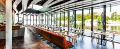 Riva. Great for drinks and dinner on a warm summer night. Good food and a large terrace really in the Amstel river!