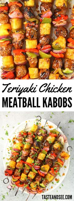 Your new easy go-to summer meal!  With fresh pineapple, red & green peppers, red onions, Teriyaki Ginger Chicken Meatballs & homemade Teriyaki sauce.  http://tasteandsee.com