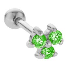The perfect earring for your helix piercing is here! This modern 14K gold stud earring features three 2mm, round cut genuine emeralds. The 3-prong settings accentuate the May birthstones' cuts and create a sophisticated triad of deep green sparkle. These skillfully crafted cartilage earrings are made entirely of 14K nickel-free white gold with your comfort, protection and style in mind.