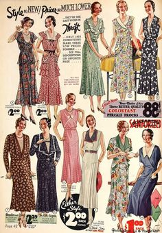 Vintage Catalog for Dresses in the 1930s | 1932 30s color photo illustration print ad dress fashion day floral blue brown summer sprint long