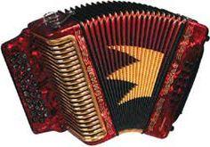 Antique red accordion