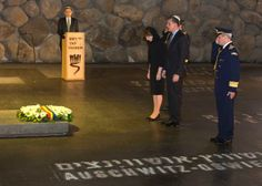 Crown Princess Margareta of Romania and her husband, Prince Raduas they honor the six-million Jews exterminated by the Nazis during the Holocaust of World War II after laying a wreath in the 'Hall of Remembrances' in the Yad Vashem Holocaust Memorial in Jerusalem during a ceremony, 30 April 2014. On the floor are names of the Nazis concentration camps including Auschwitz, as the hall is considered a symbolic cemetery for all of the six-million who perished.