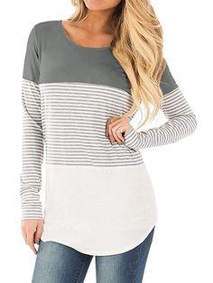 13e9d5c887 Color Block Striped T-Shirts. Peasant BlouseTunic BlouseTunic TopsStriped Long  Sleeve ShirtStriped ShirtsTunicsBlousesStyle FashionFashion Women