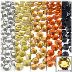 5-Pack Set (5X -144-Piece), Round 7mm Rhinestones, Yellow Tones
