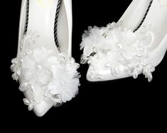 Ribbon Shoes, Bow Shoes, Bride Shoes, Wedding Shoes, Wedding Lace, Pearl Shoes, Feather Headpiece, Flower Shoes, Organza Flowers
