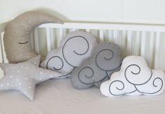 Kids Pillow Set (5) - Nursery Decor - Kid Pillows -Light grey and white polka…