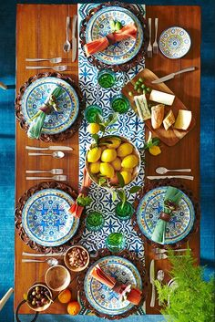 It's time for afternoon tapas on a table inspired by sun-dappled Mediterranean coastlines. Pier ironstone Mediterranean Tile Dinnerware Collection features all of the blues, yellows and greens of the region, dining Outdoor Dinnerware, Melamine Dinnerware, Tableware, Mediterranean Tile, Mediterranean Architecture, Deco Table, Decoration Table, Tablescapes, Tapas