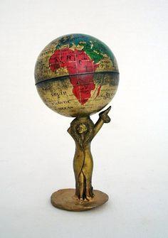 GLOBE~Vintage World Globe 1920s Pencil Sharpener Rare by vintagecals
