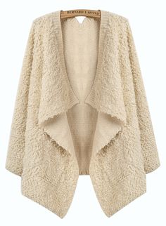 Beige Long Sleeve Draped Front Boucle Knit Cardigan