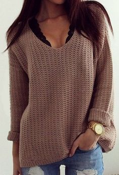 Just Female Voice Brown Plunging Sweater