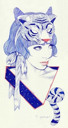 T. Yukari #art #headdress #blue #women #red