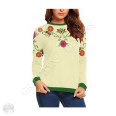 Flowers on the Vine Yellow All Over Print Crewneck Sweatshirt for Women (Model Sweatshirt Refashion, Sweatshirt Dress, Crew Neck Sweatshirt, Halloween Sweatshirt, Patterned Leggings, Jacket Pattern, Dresses With Leggings, Green Fashion, Printed Sweatshirts