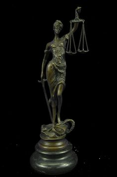 Honey Bronze Lady Blind Justice Lawyer Law Student Legal Office Art Marble Base Statue At Any Cost Art