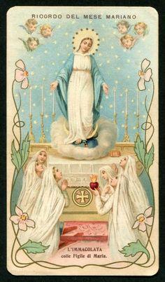 Blessed Mother Mary, Blessed Virgin Mary, Catholic Prayers, Catholic Art, Jesus Photo, Catholic Pictures, Vintage Holy Cards, Holy Mary, Prayer Cards