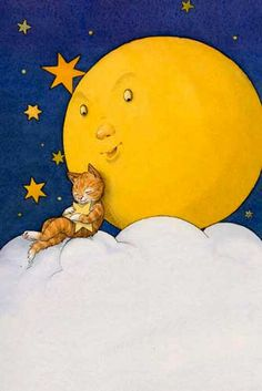 illustration Mond und Katze,Kinderbuchillustration, Cover Illustration, Aquarell, Illustration fürr Grußkarte