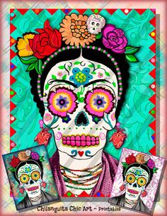 Frida Kahlo Calavera de Azúcar Collage Digital Instant