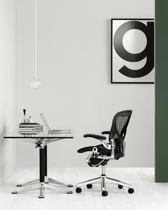 Aeron chair with polished base and linkage