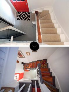 Before & After Two vintage kilim rugs sourced from Alapash New Home were cut, patched together, and installed on the stairs to achieve a warm, bohemian look.