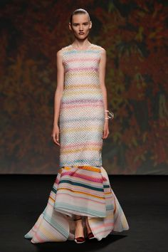 Dior Haute Couture Autumn-Winter 2013 – Look 23: Embroidered multi-coloured striped silk top and multi-coloured striped silk skirt. Discover more on www.dior.com #Dior#PFW