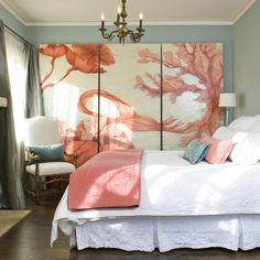 This large-scale #coral #wallart brings some serious style to this bedroom without overwhelming its other elements.